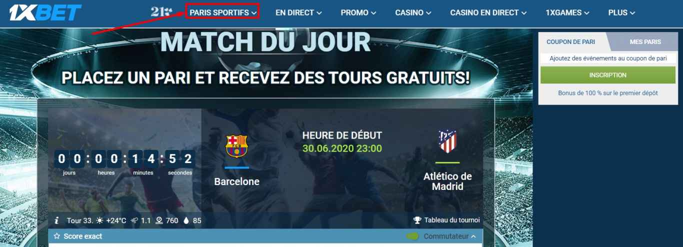 L'horaire de streaming 1xBet live